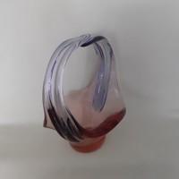 Art deco cseh üveg kosár, kínáló