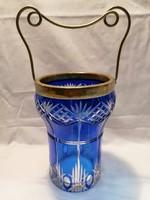Pácolt metszett régi kék kristály üveg fogantyúval