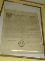 Kiáltvány okirat II.József által/1785 /