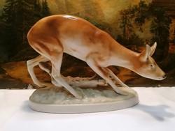 Royal Dux porcelán nagy őz szobor