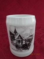 Német porcelán söröskorsó, Payerbach látképével.Magassága 10,5 cm.
