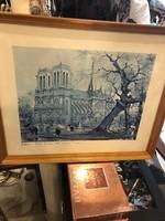 Gyönyörű linonyomat a még ép párizsi Notre-Dame-ról, 35 x 25 cm-es