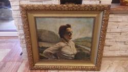 Női portré régi olajfestmény gyönyörű keretben