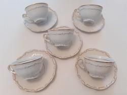 Régi Zsolnay porcelán barokk arany-fehér teás kávés csésze 5 db