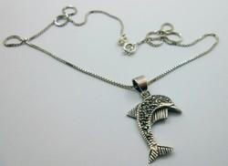 Érdekes ezüstlánc delfines csillogó függő 925-ös
