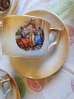 Antik Zsolnay porcelán jelenetes teás csésze alátéttel