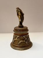 Antique bronze hand bell. Dazzling artwork!