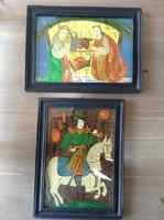 Kézzel, üveg hátoldalára festett naív festmények fa kertben, párban