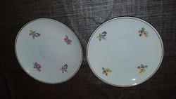 2db. virágos porcelán teás alj Hollóházi
