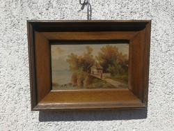 Antik 1800as évekből Festmény Osztrák, Alpes, Tátra, Németalföldi, Flamand jellegű. Monogram szignó.