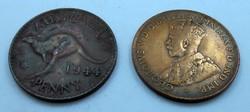 Ausztrál gyarmati penny 1922 1944 pénz pénzérme