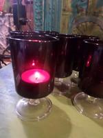 6 db LUMINARC CAVALIER RUBY, akár karácsonyi mécsestartónak is az ünnepi asztalra .