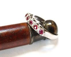 Ritkaság!Régi palládium gyűrű rubinokkal!