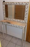 Gyönyörű márvány lapos tört fehér konzol asztal + tükör; akár pipere vagy fésülködő asztal