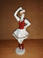 Hollóházi porcelán Csárdás Királynő magyaros ruhában szobor figura 30 cm magas