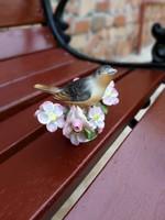 Gyönyörű Herendi madár faágon, madaras nipp, nosztalgia darab