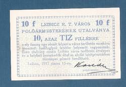 10 Fillér Leibicz ( LEI - 3d) aUNC- UNC  Aláírással
