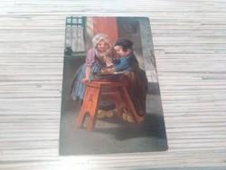 Antik képeslap. Gyerekek.