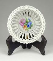 1B803 Herendi áttört fonott porcelán kosár 9.5 cm