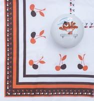 Cseresznye mintás retro terítő - régi konyhai textil