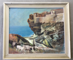 Ezüst György: Mediterrán táj kecskékkel