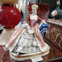 """Barokk stílus. Nemet figurális porcelán """"Dáma"""". Kézzel festett. Ritka!"""