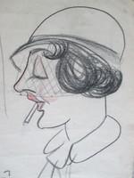 Vintage portré-karikatúra 1932-ből: nő fátyolos kalapban