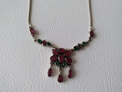 Smaragd-rubin köves ezüst nyakék csak 5 napig!!!