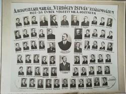 Régi vintage fotó Verbőczy István reálgimnázium tabló