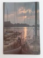 Retro képeslap Balaton vitorlás hajó naplemente