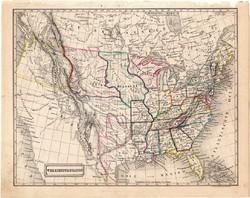 Amerikai Egyesült Államok térkép 1854 (2), német nyelvű, eredeti, atlasz, osztrák, Amerika, állam