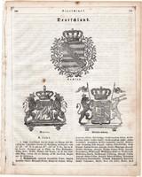 Németország, címerek, nyomat 1854 (2), német, eredeti, Württemberg, Baiern, Sachsen, címer, szász
