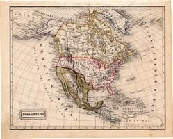 Észak - Amerika térkép 1854 (2), német nyelvű, eredeti, atlasz, osztrák, közép, Mexikó, Kanada, USA