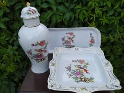 Hollóházi paradicsom madaras porcelánok