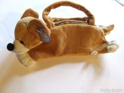 Régebbi aranyos kis plüss kutya, kutyus figura, pénztárca, mini táska vagy tolltartó