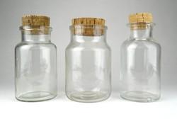 1B275 Régi parafadugós gyógyszertári patika üveg készlet 3 darab