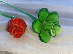 Antik kétrétegű üveg virágok