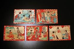 5db 19. sz. Japán Fametszet Képeslap Levelezőlap Fehértemplom Temesvár Gyűjtemény