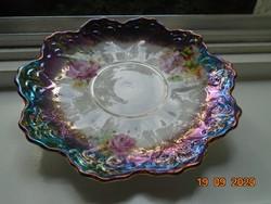 Antik Birodalmi csipkézet, kézzel festett rózsás, különleges lila türkiz eozinmázas tányér