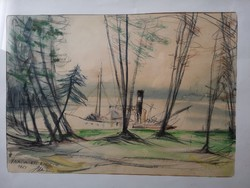 Kikötő, akvarell 44x34 jelezve
