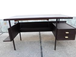Retro, fa íróasztal (fiók, polc; 1970-1980-as évek)