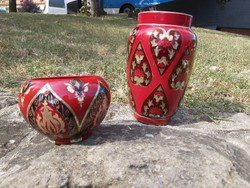 Zsolnay többtüzű eozin mázas váza és kaspó. Exportra készültek.