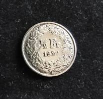 1/2 Svájci Frank 1920 ezüst