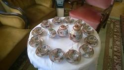 """Japán 12 fős """"tojáshéj"""" porcelán teáskeszlet aranyozott, festett díszítéssel."""