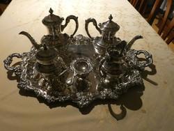 Ezüstözött kávés és teás készlet