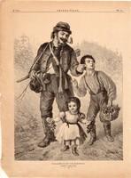 Kellemetlen találkozás, fametszet 1881, metszet, nyomat, 24 x 30 cm, Ország - Világ, újság, gyerek