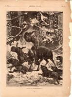 Harc a farkasokkal, fametszet 1881, metszet, nyomat, 22 x 30 cm, Ország - Világ, farkas, szarvas