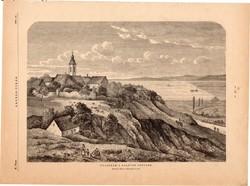Paloznak a Balaton partján, fametszet 1881, metszet, nyomat, 22 x 31 cm, Ország - Világ, újság