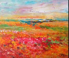 Pipacsos táj, Modern tájkép Egyedi, eredeti festmény!Szignózott,Közvetlen a művésztől!