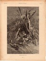 Idegen födél alatt, fametszet 1881, metszet, nyomat, 20 x 30 cm, Ország - Világ, újság, madár